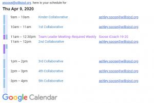 Google Calendar Schedule